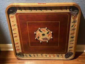 """Antique """"Flags of the Nation"""" & Checkers Carrom Combination Board Game c.1900"""