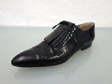 ROBERT CLERGERIE Exotenleder Schnürer Gr.42 UK10Schuhe Shoes spitze Form Schwarz