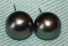REAL  Black Tahitian Pearl Earrings with 14kt posts 11mm Natural Tahitian Pearls