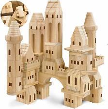 Natural Wooden Castle Building Blocks Set of 75 Pieces