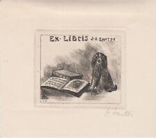 ex-libris J.A.Santos signé au crayon et daté 1961 (chien)