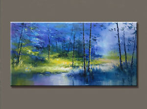 "YA1296 Large 48"" 100% Hand-painted oil painting Forest Unframed"