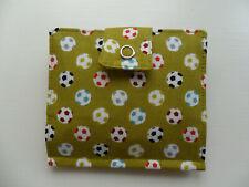 Handmade Tea Bag Wallet Green with Footballs