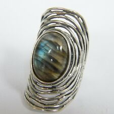 R00965LB New Shablool Sterling Silver Ring Labradorite Large Oval Wires