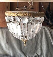 """Antique Vintage~10""""Crystal Basket Flush Mount Chandelier~OrIginal"""