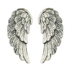 Silver stud earrings antiqued 925 sterling silver angel wings 19mm long new look