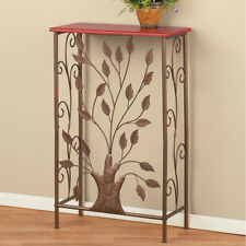 Elegant Iron Tree & Scroll Work Wood Top Home Entry Table