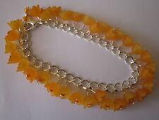 Orange Lucite Flower Charm Bracelet - Silver Plated - Orange Blossom