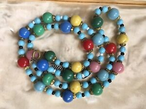 Vintage Multicoloured Harlequin Glass Bead necklace C 1950s