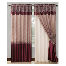 """Single (1) Burgundy Double Layer Window Curtain Set with Valance: 90"""" Long Panel"""