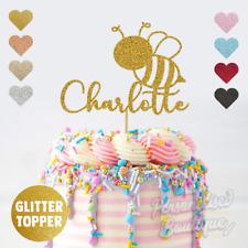 Personalised Custom Glitter Cake Topper Bumblebee Birthday, Add Any Name