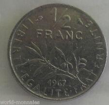 50 centimes semeuse 1967 : TTB : pièce de monnaie française