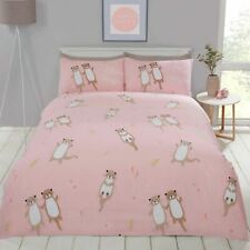 Otterly Amazing Otters Single Duvet Cover Set - Coral Pink Bedding Ferns Flowers