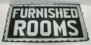 FURNISHED ROOMS Sign Antique Chip Glass Scalloped Mirrored Tin Metal Frame B&B