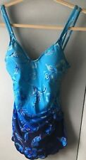 MAXINE OF HOLLYWOOD Swimsuit Blue Gold Hawaiian Floral One Piece Sarong style