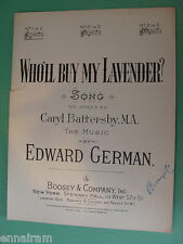 Who'll Buy My Lavendar 1924 by Caryl Battersby, Edward German No 1 in C
