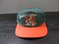 VINTAGE Miami Hurricanes Hat Cap Green Orange Sebastian Snap Back UM Football