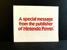 A Special Message Nintendo Power Cognitive Benefits MES INSERT ONLY Authentic