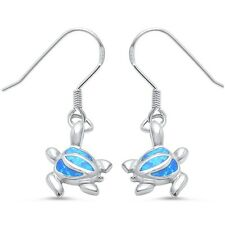 Blue Opal Dangle Drop Turtle .925 Sterling Silver Earrings