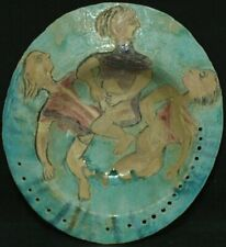 Miriam Medrez Clay Bowl 3 Figures 1989 Listed Mexican Female Artist