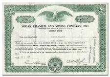 Sodak Uranium and Mining Company, Inc. Stock Certificate