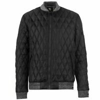 No Fear Mens Quilted Bomber Jacket Coat Top Long Sleeve Zip Full