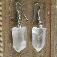 Quartz Earrings Raw Natural Crystal Point Silver Dangle Earring Hook Reiki Heal