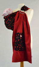NEW Baby Ring Sling Carrier 100% Cotton Black Red Stars