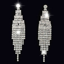 Largo Pendientes de Cristal Diamante Borla Boda Graduación Estrás Plata Colgante