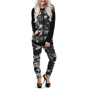 Womens 2 PCs Tracksuits Hoodie Jogger Set Camouflage Camo Sports Plus Sizes 6-30