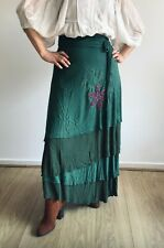LONG WRAP AROUND HIPPY BOHO ETHNIC EMBROIDERED FLOWERS SKIRT FROM NEPAL ONE SIZE