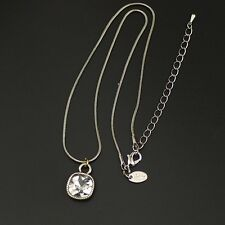 Lia sophia jewelry silver tone square cut crystal pendant necklace chain