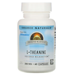 L-Theanine, 200mg 60 caps By Source Naturals