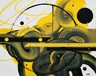 Yellow Abstract Painting on Canvas. Modern and Orignal Art. Oil and acrylics.