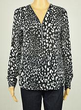 Inc Mujer Blanco y Negro Estampado Leopardo Manga Larga 1/2 Zip Blusa Top 6