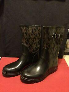 Michael Kors MK Logo Black Rubber Mid Rain Boots Women's Size 8