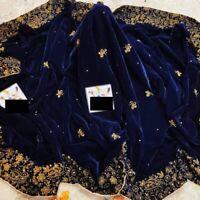 Pakistani indian party wear velvet shawl wrap anarkali salwar kameez maria B