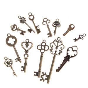 13pcs Mix Jewelry Antique Vintage Old Look Skeleton Keys Tone Charms Pendants PT