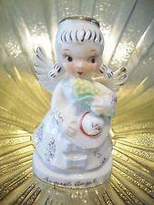 RARE VTG Straw Hat August Birthday Angel Girl Holds Corn Figurine DARLING!