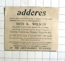 1938 Ladies Department, Addores, Penzance Under Management Of Miss K Wilson