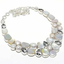 """Mother Of Pearl, White Topaz Gemstone Fashion Jewelry Necklace 18"""" SN1504"""