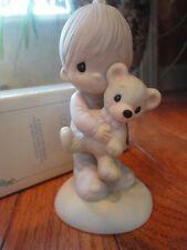 Precious Moments Figurine Jesus Loves Me 1982 E9278 Bear Mib