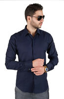Navy Blue Tailored Slim Fit Men's French Cuff Dress Shirt Spread Collar By AZAR