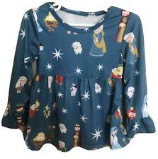 Girls Christmas Dress Size 24 Months Nativity Scene Ruffle Bell Sleeves