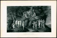 Muses and Pierides Pierno del Vaga 1880's steel engraved print