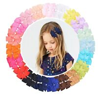 40 Pieces 3 inches Baby Girls Hair Bows Clips Boutique Grosgrain Ribbon Bow