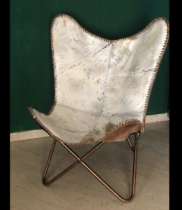 Leather Butterfly Chair Industrial Vintage Seat Metal Living Room_
