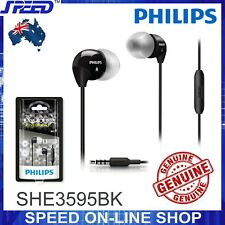 PHILIPS SHE3595BK Headphones Earphones with Mic - Extra Bass - BLACK - GENUINE