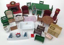 Lot Vintage Sylvanian Families Furniture~Chairs,Tables,Clocks,Ceramic Bath etc