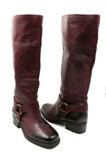 LUCKY BRAND Size 8 Cherry Red Leather ABENI Harness Block Heel Riding Boot